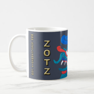 MAYAN SPIRIT ZOTZ, GREY BACKGROUND, CANCUN COFFEE MUG