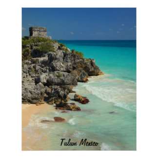 Mayan Temple and Caribbean Sea Poster