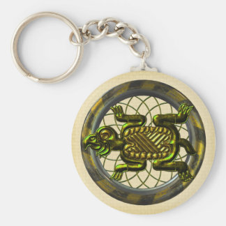 Mayan Turtle Basic Round Button Key Ring