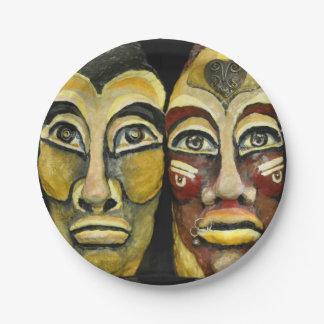 Mayan warriors - surrealism design 7 inch paper plate