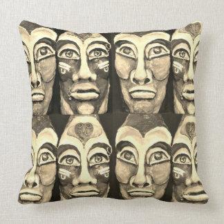 Mayan warriors - surrealism design - sepia color cushion