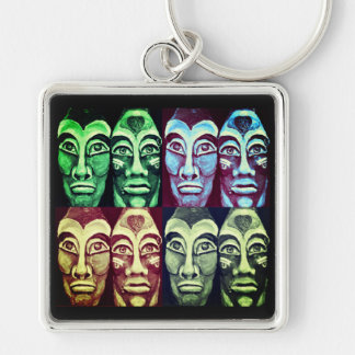 Mayan warriors - surrealism painted design key ring
