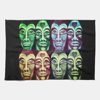 Mayan warriors - surrealism painted design tea towel