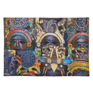 Mayan Wooden Masks for Sale Placemat