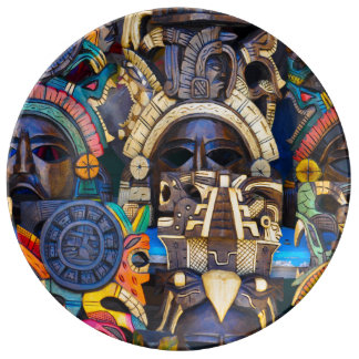 Mayan Wooden Masks for Sale Plate