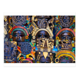 Mayan Wooden Masks for Sale Postcard