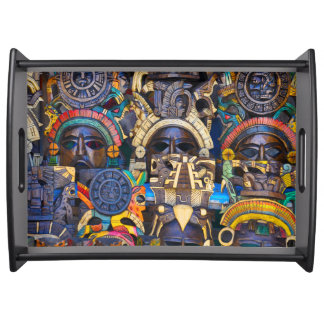 Mayan Wooden Masks for Sale Serving Tray