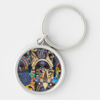 Mayan Wooden Masks for Sale Silver-Colored Round Key Ring