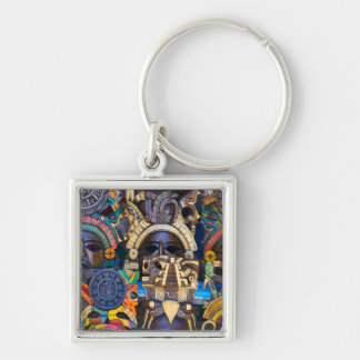 Mayan Wooden Masks for Sale Silver-Colored Square Key Ring