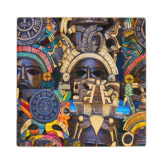 Mayan Wooden Masks for Sale Wood Coaster