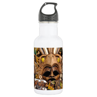 Mayan Wooden Masks in Mexico 532 Ml Water Bottle