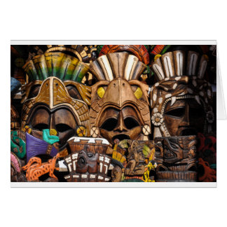 Mayan Wooden Masks in Mexico Card
