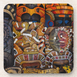 Mayan Wooden Masks in Mexico Coaster