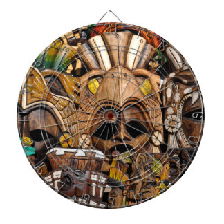 Mayan Wooden Masks in Mexico Dartboard