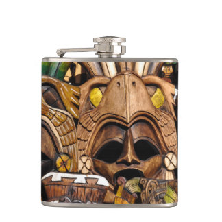 Mayan Wooden Masks in Mexico Flask