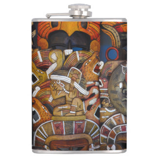 Mayan Wooden Masks in Mexico Hip Flask