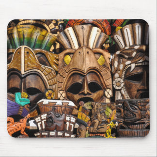 Mayan Wooden Masks in Mexico Mouse Pad