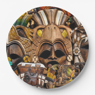 Mayan Wooden Masks in Mexico Paper Plate