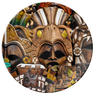 Mayan Wooden Masks in Mexico Plate