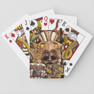 Mayan Wooden Masks in Mexico Playing Cards