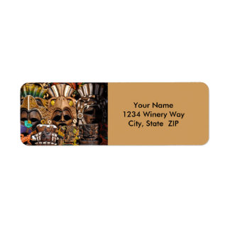 Mayan Wooden Masks in Mexico Return Address Label