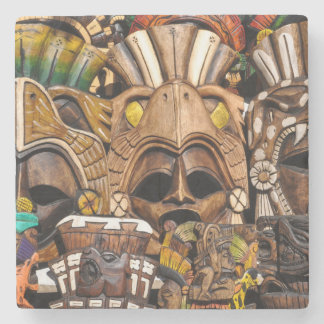 Mayan Wooden Masks in Mexico Stone Coaster
