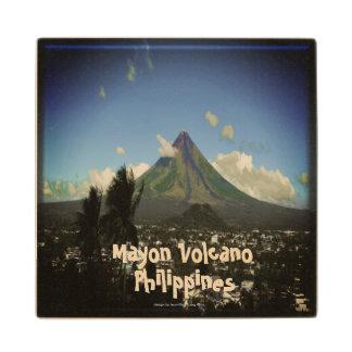 "Mayon Volcano, Albay Philippines ""3d"" Wood Coaster"