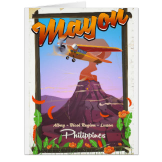 Mayon Volcano philippines adventure poster Card
