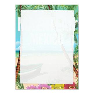 Mazatlán Mexico Vintage beach travel poster 17 Cm X 22 Cm Invitation Card