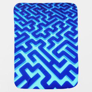 Maze Blue Baby Blanket