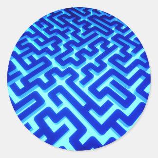 Maze Blue Classic Round Sticker