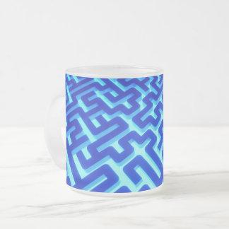 Maze Blue Frosted Glass Coffee Mug