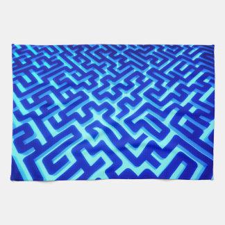 Maze Blue Tea Towel