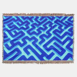 Maze Blue Throw Blanket