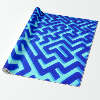 Maze Blue Wrapping Paper