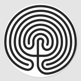 maze, cretan labyrinth classic round sticker