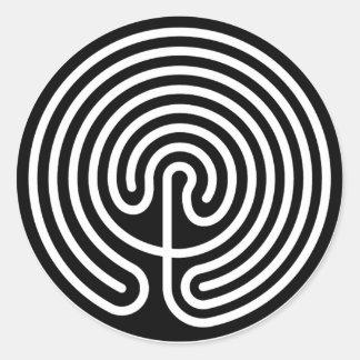 maze, Cretan Labyrinth (reverse) Classic Round Sticker