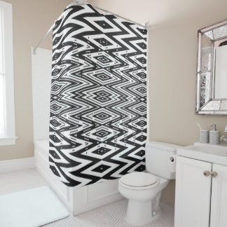 Maze Ebony Ivory Shower Curtain