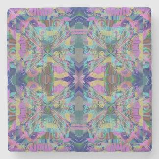 Maze of colors stone coaster