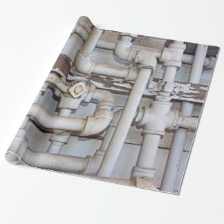 Maze of Metal Plumbing Pipes Wrapping Paper