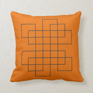 Maze Orange Throw Pillow
