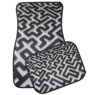 Maze Silver Black Car Mat