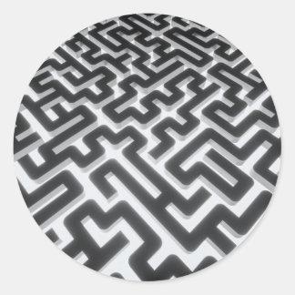 Maze Silver Black Classic Round Sticker