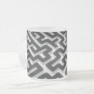 Maze Silver Black Frosted Glass Coffee Mug
