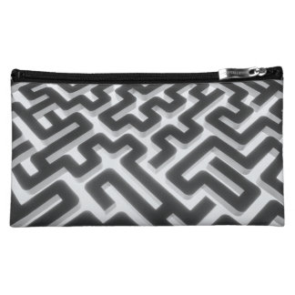 Maze Silver Black Makeup Bag