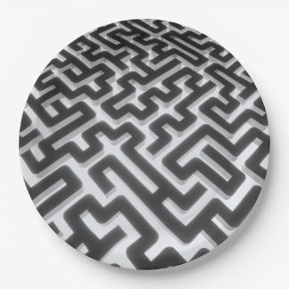 Maze Silver Black Paper Plate