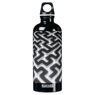Maze Silver Black Water Bottle