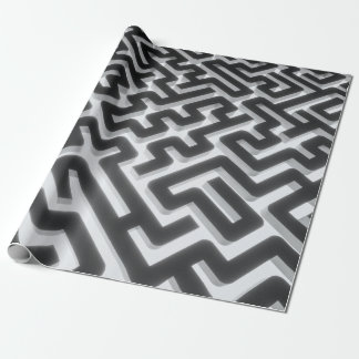 Maze Silver Black Wrapping Paper