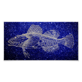 Mazola Deep Sea Fish Blue Navy Beach Foxier Gold Poster