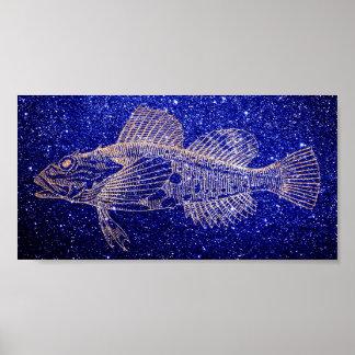 Mazola Deep Sea Fish Blue Navy Rose Gold Blush Poster